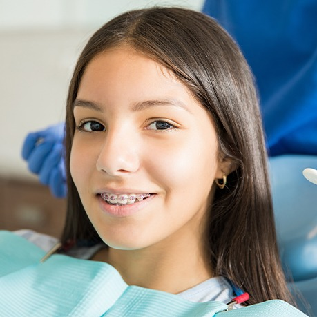 Orthodontic patient in treatment chair