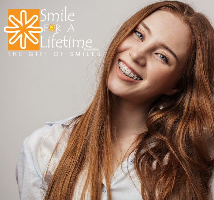 Teen girl with braces next to Smile for  lifetime foundation logo