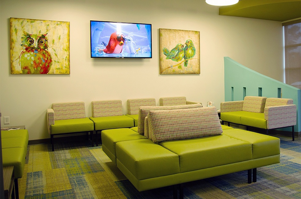 Cozy orthodontic office waiting area