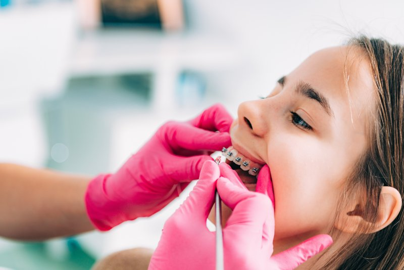 Girl during braces removal